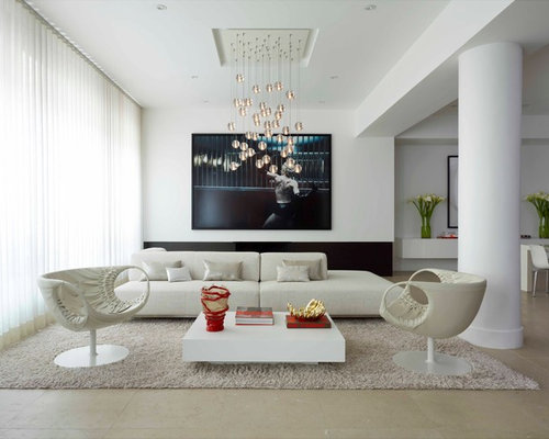 Example of a trendy open concept living room design in New York