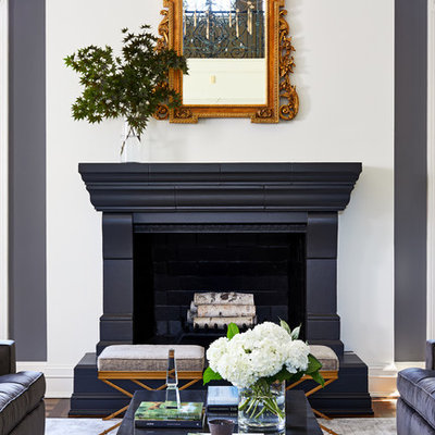 Example of a huge transitional formal and open concept dark wood floor living room design in DC Metro with gray walls, a standard fireplace, a stone fireplace and no tv