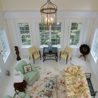 Example of a large cottage formal ceramic tile living room design in Sacramento with yellow walls
