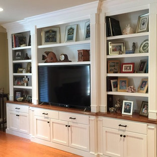 wall unit ideas \u0026 photosinspiration for a mid sized traditional enclosed living room in miami with brown walls,