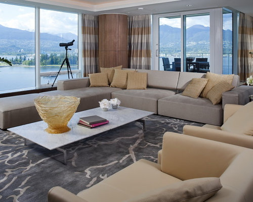 Inspiration For A Mid Sized Contemporary Formal And Open Concept Carpeted Living Room Remodel In