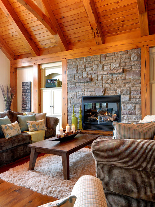 Example Of A Mountain Style Living Room Design In Toronto With White Walls
