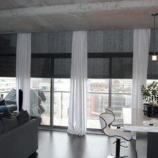 Contemporary Living Room by Custom Drapery And Blinds By FAE