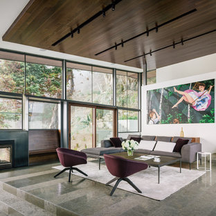Inspiration for a contemporary formal gray floor and concrete floor living room remodel in San Francisco with white walls, a two-sided fireplace and no tv
