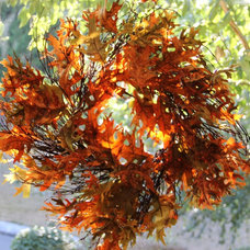 Traditional Living Room Fall Wreath in Living Room Window