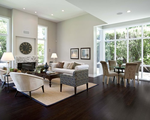 Contemporary Open Concept Living Room Idea In San Francisco With Gray  Walls, Dark Hardwood Floors