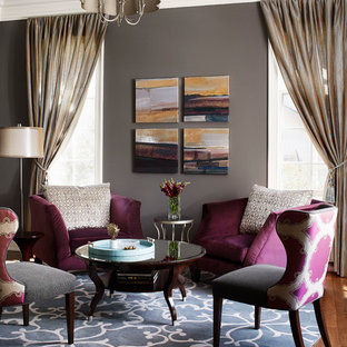 Imagen de salón clásico renovado, pequeño, con paredes grises