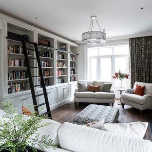 Idee per un soggiorno classico chiuso con sala formale, pareti grigie, parquet scuro, camino classico, nessuna TV e pavimento marrone