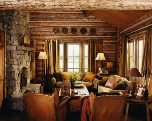 Mountain Style Open Concept Medium Tone Wood Floor Living Room Photo In  Other With A Standard
