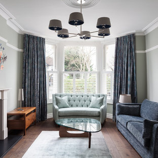 Design Ideas For A Contemporary Living Room In London With Green Walls Dark Hardwood Flooring