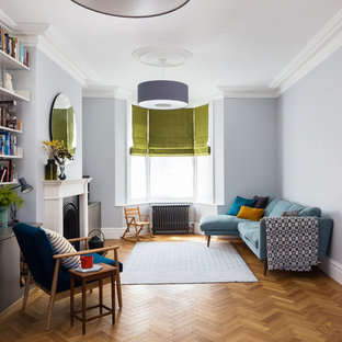 Design Ideas For A Contemporary Open Plan Living Room In London With Grey Walls