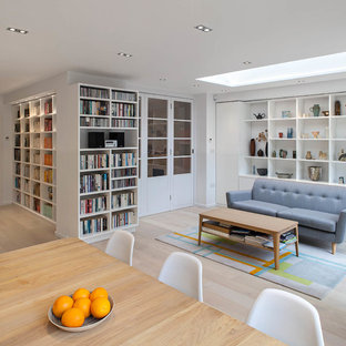 Design ideas for a large contemporary living room in Hertfordshire.