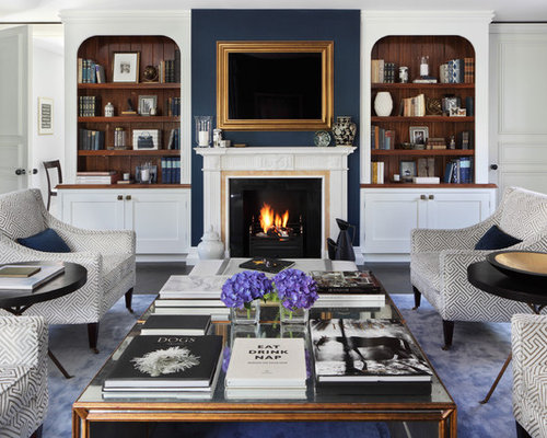 navy living room ideas. Large traditional formal and enclosed dark wood floor living room idea in  London with blue walls Navy Gold Living Room Ideas Photos Houzz