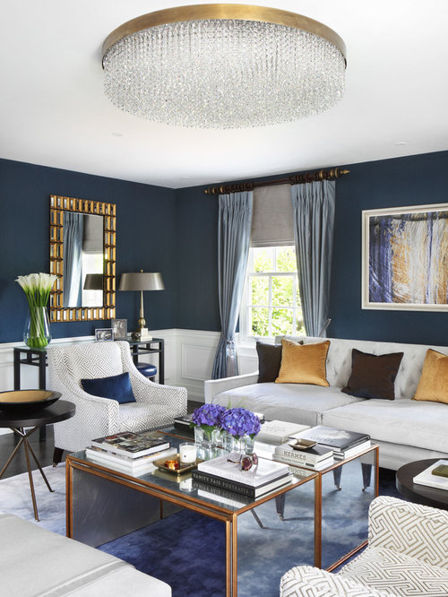 navy gold living room ideas & photos