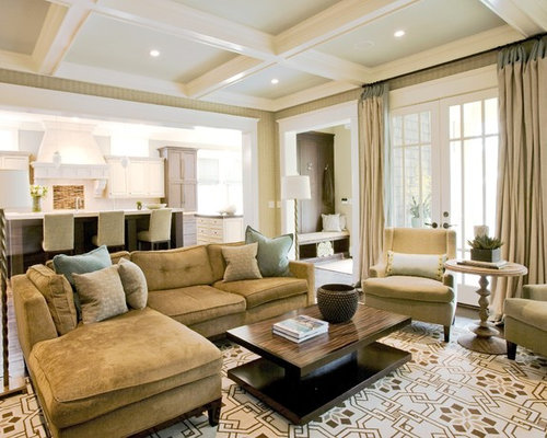 Inspiration For A Large Timeless Open Concept And Formal Medium Tone Wood Floor Living Room Remodel