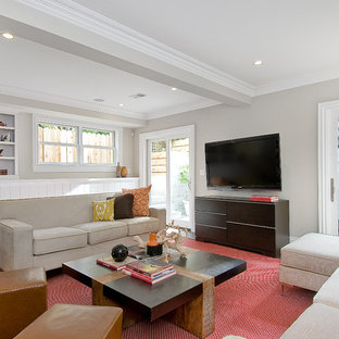 Large Elegant Living Room Photo In San Francisco With Gray Walls And A Wall Mounted