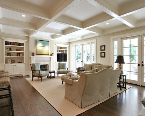 Awesome Inspiration For A Timeless Dark Wood Floor And Brown Floor Living Room  Remodel In Atlanta With Part 22