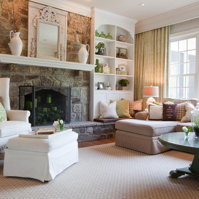 Inspiration for a mid-sized timeless formal and enclosed dark wood floor and brown floor living room remodel in Baltimore with a standard fireplace, a stone fireplace and no tv