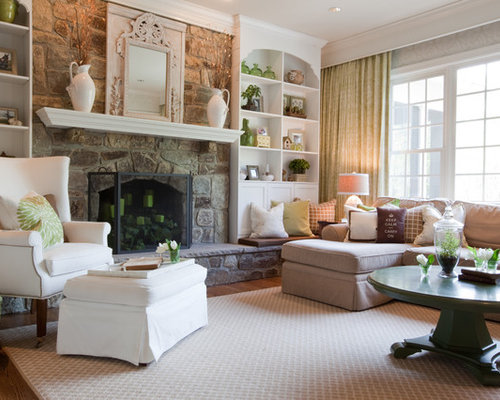Inspiration For A Timeless Living Room Remodel In Baltimore With A Standard  Fireplace And A Stone