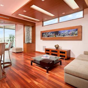 Diseño de salón cerrado, contemporáneo, de tamaño medio, con paredes blancas, suelo de madera en tonos medios y suelo rojo