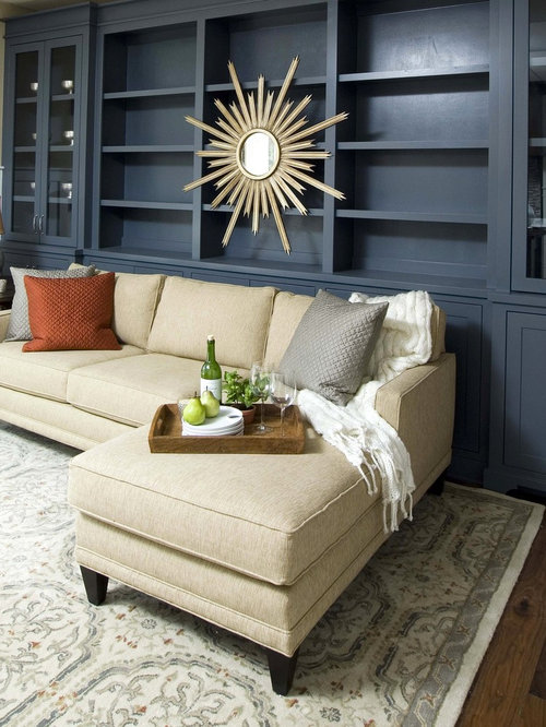 Ex&le of a mid-sized classic dark wood floor living room design in T&a with : rowe sectionals - Sectionals, Sofas & Couches