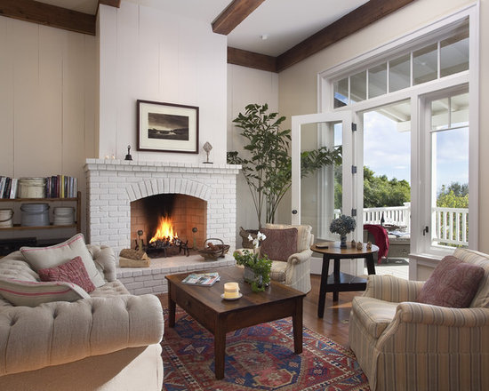 Modern Living Room With Brick Fireplace white brick fireplace | houzz