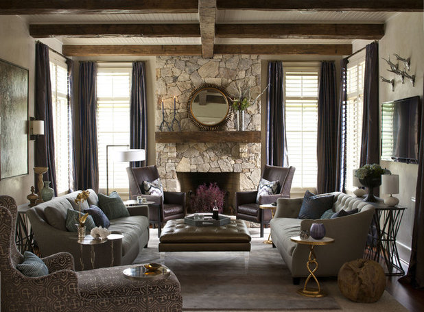 Room of the day balancing rustic and glam in north carolina for Living room and family room next to each other