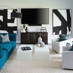 Living room - contemporary living room idea in Miami with gray walls and a wall-mounted tv