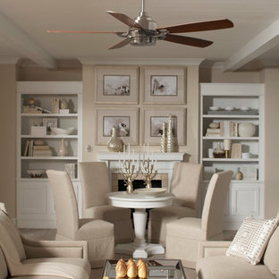 Inspiration for a medium sized classic formal enclosed living room in San Diego with brown walls, light hardwood flooring, no tv, a standard fireplace and a wooden fireplace surround.