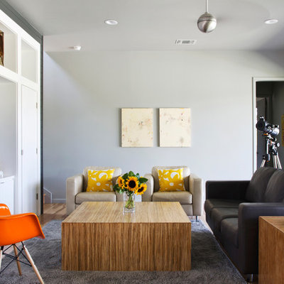Inspiration for a country formal medium tone wood floor living room remodel in Austin with gray walls and a wall-mounted tv