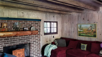 Farmhouse Interior- Whitewash, paint glaze finish trim, couch selection.