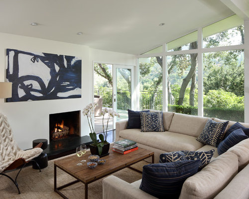 Living Room   Farmhouse Black Floor Living Room Idea In San Francisco With  A Standard Fireplace