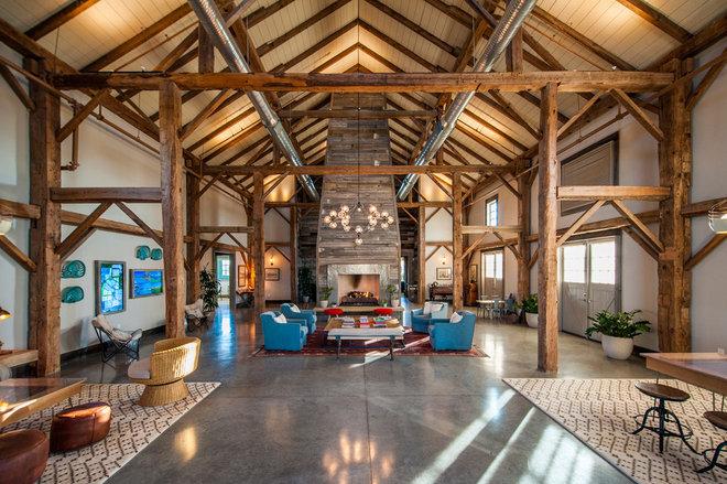 Farmhouse Living Room by HeritageBarns.com