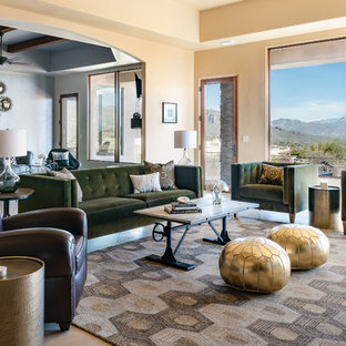 Transitional Open Concept Living Room Photo In Phoenix With Beige Walls