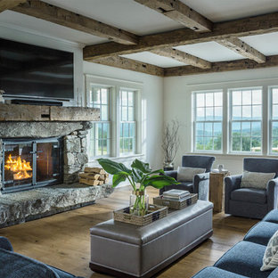 Living room - mid-sized cottage formal and open concept medium tone wood floor and brown floor living room idea in Other with white walls, a stone fireplace, a wall-mounted tv and a standard fireplace