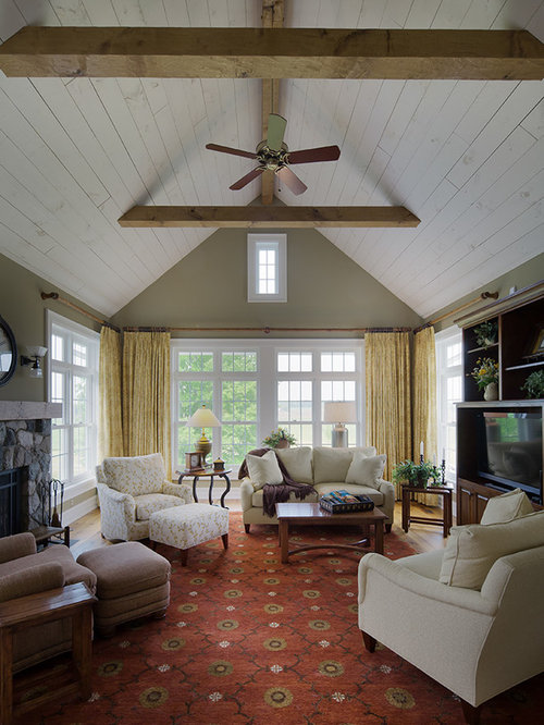 Inspiration For A Large Farmhouse Open Concept Living Room Remodel In Detroit With Green Walls