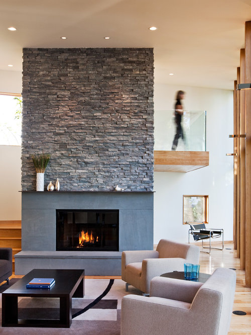 ledge stone fireplace. Contemporary living room idea in Minneapolis with white walls and a  standard fireplace Ledgestone Fireplace Houzz