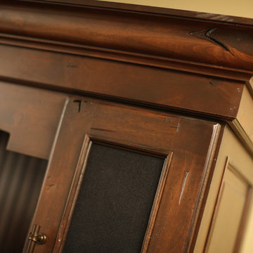 Fashionable Entertainment Center Cabinet Close Up Showing Crown Molding Detail w