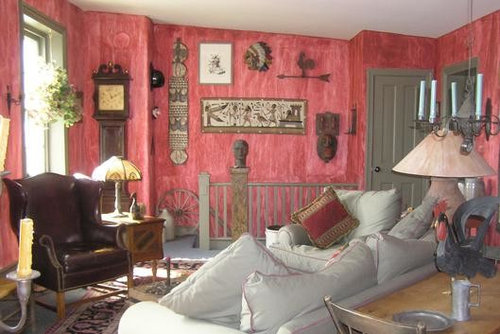 Faux Red Walls add Interest to Living Room