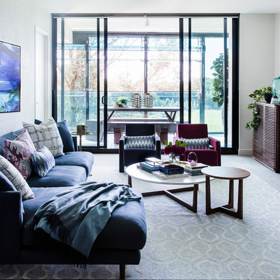 Mid-sized trendy formal and open concept carpeted and gray floor living room photo in Sydney with white walls and no fireplace