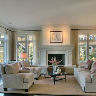 Inspiration for a large contemporary formal living room remodel in Seattle with a standard fireplace and no tv