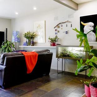 メルボルンの大きいエクレクティックスタイルのおしゃれなLDK (ベージュの壁、スレートの床、壁掛け型テレビ、マルチカラーの床) の写真