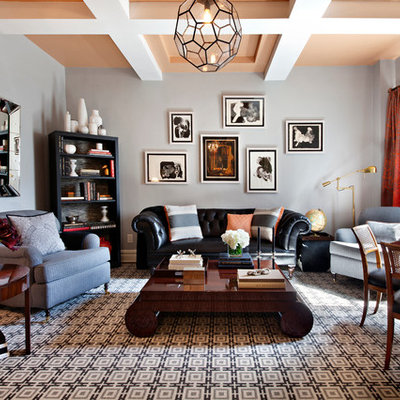 Trendy open concept living room library photo in New York