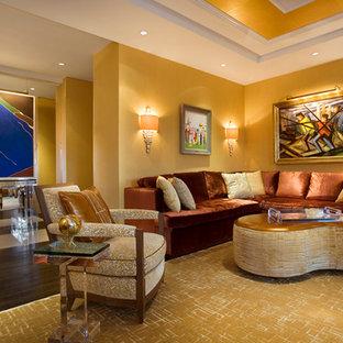 ニューヨークの大きいエクレクティックスタイルのおしゃれなリビングロフト (フォーマル、黄色い壁、濃色無垢フローリング、標準型暖炉、石材の暖炉まわり、内蔵型テレビ) の写真