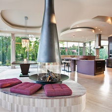 Contemporary Living Room by CF + D custom fireplace design