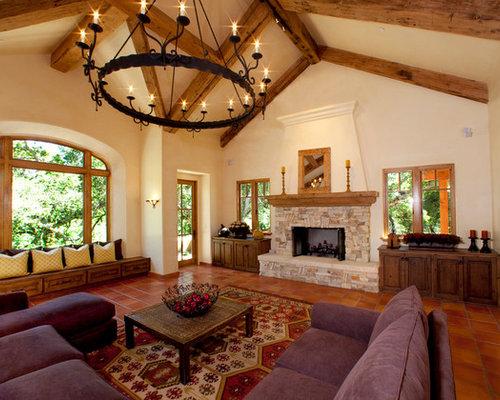 Terracotta Tiles Living Room Design Ideas Remodels Photos Houzz