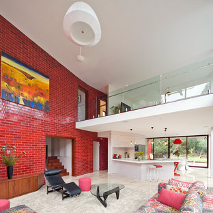 Inspiration For A Contemporary Open Concept Living Room Remodel In  Melbourne With Red Walls