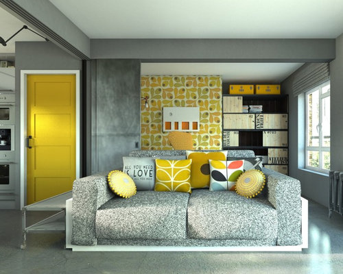 Industrial Living Room with Grey Walls Design Ideas, Pictures ...