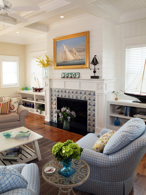 Houzz Cottage Living Room: Cottage Fireplace