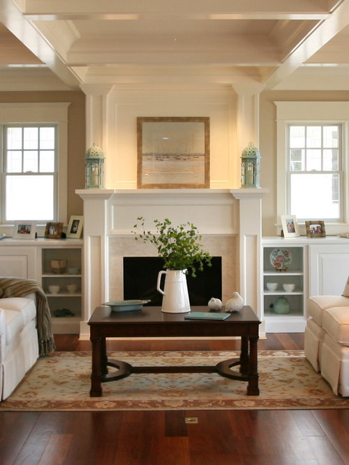Living Room With Fireplace And Helves shelves next to fireplace | houzz